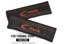 "2x Seat Belt Covers Pads Black Leather ""C-max"" Orange Embroidery for Ford"