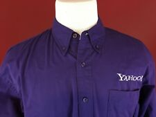 YAHOO!  Purple Long Sleeve Button Front Port Authority Shirt Mens Large