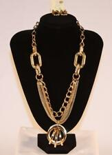 Gold Tone Necklace & Earrings Set Premium Fashion Jewelry Heavy Chain JXCG New