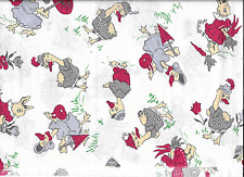 THE GEESE AND RABBIT FAMILIES FABRIC,OLD STYLE PRINT,LONG QUARTER.