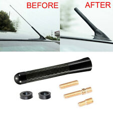 "8cm 3"" Black Car Antenna Aerial Carbon Fiber Screw Short Stubby Mast Universal X"