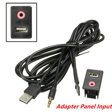 Adapter Panel Input With 1.5M cable Car 3.5mm USB AUX Headphone Male Jack Flush