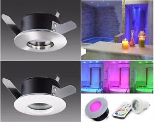 Faretto Cromoterapia da incasso LED RGB 6W + LUCE BIANCA impermeabile doccia