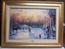"Thomas Kinkade  "" Town Square "" Rare Framed Canvas Edition  Mint $1550 Value"