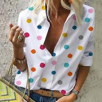 Women Multi-color Polka Dot Casual Summer T Shirt Tops Lapel Blouse Plus Size A6