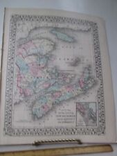 Vintage Print,EASTERN CANADA,Map,Mitchell's Atlas,1881