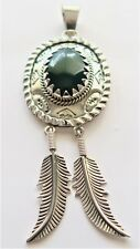 925 Sterling Silver Artisan Large Feather Southwest Carving Green Agate Pendent