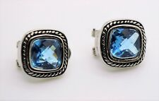 EXQUISITE Balinese Silver Wheat Cable Light Sapphire CZ Crystal Earrings A157