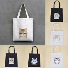 Large Capacity Zipper Cat Bag Canvas Tote Cute Black White Schoolbags Fasgion