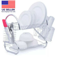 Kitchen Dish Cup Drying Rack Drainer Dryer Tray Cutlery Holder Organizer Hot UL