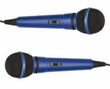 2x Blue Mr Entertainer Microphone with 6.35mm Jack Plug - Home Karaoke / Disco