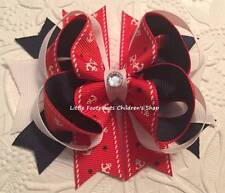 """Red White Navy Nautical Anchor Jeweled Hair Bow 4"""""""