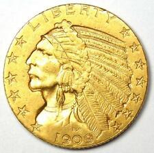 1909-D Indian Gold Half Eagle $5 Coin - AU Details - Rare Coin!