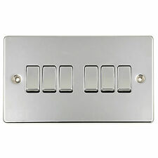 British General Polished Chrome 10 Amp 6 Gang 2 Way Light Switch Plate White BG