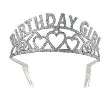 Birthday Girl Glitter Tiara - Fancy Dress Crown Silver