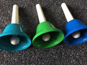 childrens hand bells X3