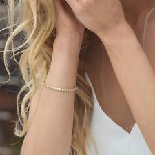 Ladies Crystal Gemstone One Row Tennis Bracelet Wedding Gift Jewelry SHAN