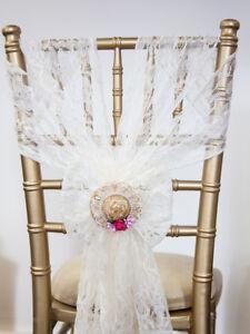 Vintage Hat Wedding Chair Sash Embellishments 59 Pieces