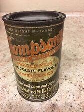 Vintage Thompson's Double Malted Milk Can Tin  Pound Size Waukesha Wisconsin
