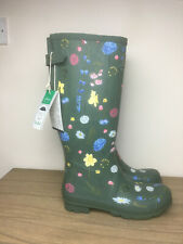 BNWT Joules Printed Wellies Size 8 EU 42 Green Floral Women's