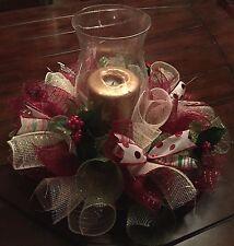 Christmas Table Arrangement Wreath Centerpiece Deco Mesh Holiday Holly Ribbon