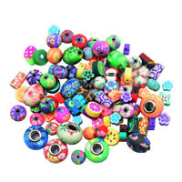 100x Mixed Floral Polymer Clay Round Loose Spacer Beads Charms for DIY Craft