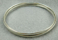 Design Bangle Bracelet 22.7 Gr Vintage Taxco Mexico Sterling Silver Overlapping