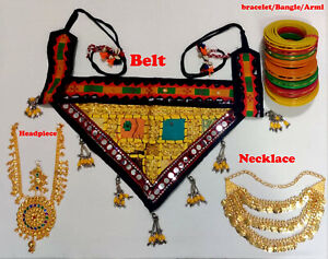Tribal Golden Full Set / Bracelet Coin Set Fabric Belt Head Piece Belly Dancing