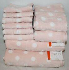 Caro Home Ten Piece Bathroom Towel Set Pink & White Dots 100% Cotton New