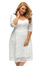 Plus size Womens Floral Lace Long Sleeve Mini Dress Casual White Dresses