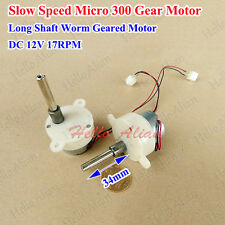 DC12V 17RPM Mini Gear Motor Slow Speed Long Shaft Mini Turbine Worm Geared Motor