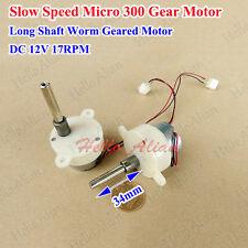DC12V 17RPM Mini Gear Motor Slow Speed Long Shaft Mini Turbine Worm Geared Motor