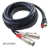 6ft. 2-XLR 3-Pin Female to 2-RCA Male Gold-Plated Contacts Stereo Audio Cable