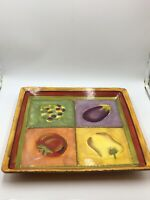 "Terra Toscana by CLAY ART 16"" Square Serving Platter Hand Painted"