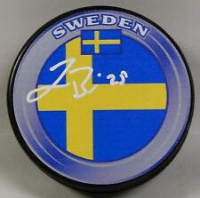 JONAS BRODIN Signed SWEDEN FLAG HOCKEY PUCK! 1006514