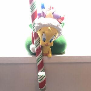 Warner Bros.Studio~TWEETY BIRD Christmas Stocking Holder~Candy Cane Vintage 1999