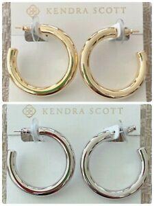 Kendra Scott Colette Hoop Earrings w/ CZ Accents, Goldtone or Silvertone, NWT