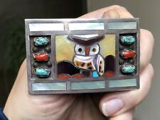 RARE OLD ZUNI FILBERT & CLARA GASPER TURQUOISE CORAL STERLING SILVER OWL BUCKLE