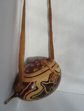 VERY Unique Beautifully Hand Carved Painted Gourd & Leather Heart Purse Handbag