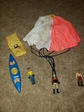 1977 Fischer Price Toys Canoe Blue Yellow Parachute and figures 318 Loose RARE