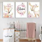Fox Deer Custom Name Wall Prints Personalized Baby Gift Nordic Kids Room Decors