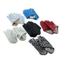 ALS_ JT_ 1 Pair Womens Cool Five Finger Half Palm Faux Leather Soft Gloves Mitte