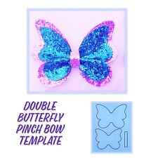 """Double Butterfly Plastic Hair Bow  Template 3.5"""""""