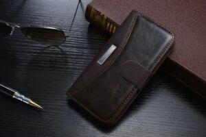 Handyhülle für Samsung Galaxy Note 2 Tasche Wallet Hülle - Braun (19BR)
