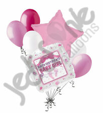 7 pc Baby Girl Birth Certificate Balloon Bouquet Party Shower Gender Reveal Its
