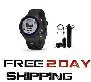 Garmin Forerunner 245 GPS Running Smartwatch w Wearable4U Power Bank Black Music