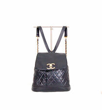 One of a Kind AUTH CHANEL backpack CC logo Quilted in lambskin from the 80s.
