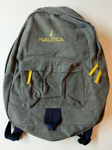 """NAUTICA Vintage Cotton Signature 18"""" Backpack in Gray/Navy Blue MSRP $95"""