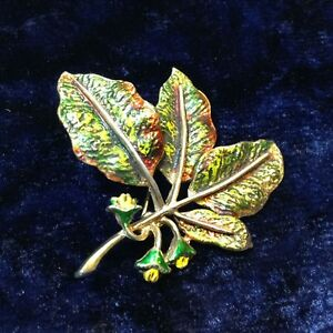 Vintage Leaf Brooch Signed by Exquisite with Autumn Enamel 1960's/70's
