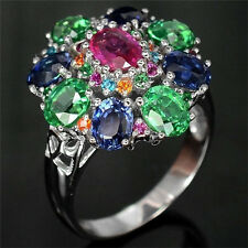 4Ct Multicolor Topaz Women 925 Silver Gemstone Cocktail Ring  Wedding Size 6-10